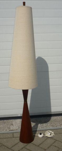 SOLD Teak fineer lamp 1960's danish design NICE NICE NICE  www.royalcrown.nl