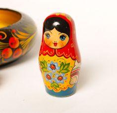 retro babushka doll | Vintage wood matryoshka doll babushka doll Russian by SkyLynx, $10.00