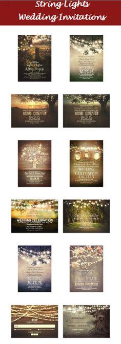 String lights wedding invitation ideas