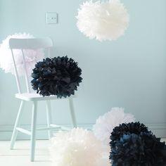 9er Set Seidenpapier PomPoms schwarz weiß crème Hochzeit Party Deko: Amazon.de: Küche & Haushalt