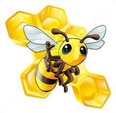 beekeeping: A cute cartoon waving bee with some honeycomb in the background Illustration Black Dogs Breeds, Cartoon Bee, Owl Vector, Cute Cartoon Characters, Bee Crafts, Cute Bee, Cute Snowman, Bee Keeping, Art Design