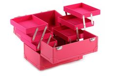 Vanity Case / Makeup Nail Hair Accessories Box Pink Faux Leather  | eBay