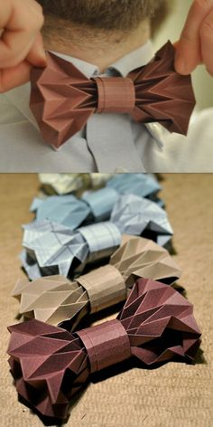 DIY Origami Bow Tie Tutorial, for the groom. Nœud papillon origami Do It Yourself pour le marié et ses boys. Origami Diy, Origami And Kirigami, Origami Paper Art, Origami Garland, Origami Cube, Origami Dress, Fabric Origami, Origami Butterfly, Bow Tie Tutorial
