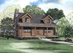House Plan 61119 | Log Narrow Lot Plan with 1492 Sq. Ft., 4 Bedrooms, 2 Bathrooms at family home plans--like it minus no master bathroom