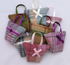 Tweed Handbag Shaped Lavender Bag  Dried by DaisyBelleShop on Etsy                                                                                                                                                                                 More Gift Wrapping, Wraps, Gifts, Butcher Paper, Presents, Coats, Gift Wrap, Wrapping Gifts, Rap Music
