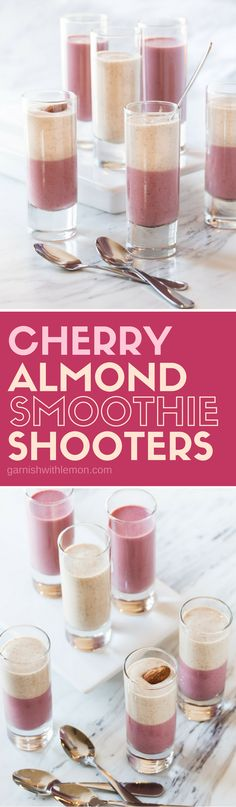 These Cherry Almond Smoothie Shooters are healthy, crowd-pleasing and can be made ahead of time - the perfect addition to your next brunch menu!