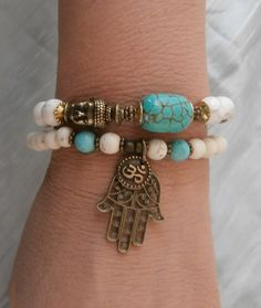 Inner Calm Turquoise & Howlite Buddha Bracelet set with Om and Hamsa hand and Buddha, Reiki, free shipping. $34.00, via Etsy.