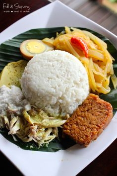 Nasi liwet is a traditional Javanese way of cooking rice in coconut milk, chicken broth and spices, from Solo, Central Java, Indonesia. In Solo, nasi liwet is usually eaten for breakfast, but also a popular choice for lunch or supper. In Keprabon subdistrict, Surakarta, nasi liwet is only served for supper at the nighttime.