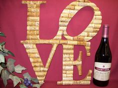 Wine Cork Decoration LOVE. $129.00, via Etsy.