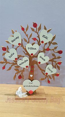 Family Trees - Jessica's Goody Bag. Personalised freestanding family tree, an alternative to the box frame version. Choose your own colour scheme & number of hearts required.