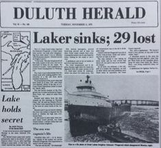 November 11, 1975 Newspaper Clipping. Sinking of the Great Lakes bulk freighter, the Edmund Fitzgerald in Lake Superior. www.marianneperry.ca