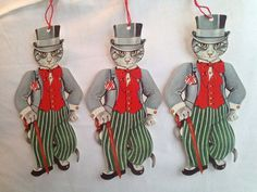 NOS vtg GORDON FRASER GALLERY die cut GIFT TAGS ~ 3 WELL DRESSED CATS