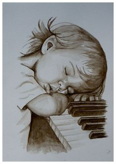 Can't just help falling asleep at the piano Drawing With Pencil, Realistic Pencil Drawings, Art Drawings, Pencil Art, Drawing Sketches, Watercolor Portraits, Watercolor Art, Drawing Portraits, Drawing Piano