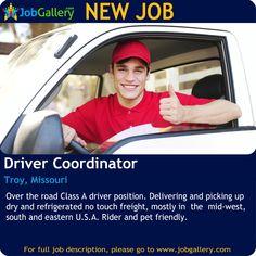 SEEKING A DRIVER COORDINATOR IN  TROY, MISSOURI #Job #NewJob #Jobs #Trending #Driverjobs #JobOpportunity #businessdevelopment #TroyJobs #MissouriJobs #jobgallery #drivers #Troy #Missouri #Logistics