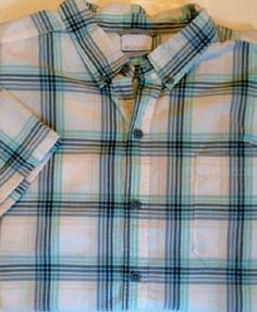 Columbia plaid camp shirt LARGE blue white short sleeve button front #Columbia #ButtonFront