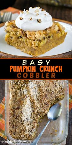 Easy Pumpkin Crunch Cobbler Recipe Easy Pumpkin Crunch Cobbler – a crunchy streusel topping and creamy pumpkin filling makes this easy dessert a must make for fall parties or events. Thanksgiving Desserts Easy, Fall Dessert Recipes, Just Desserts, Delicious Desserts, Christmas Desserts, Potluck Desserts, Health Desserts, Pumpkin Crunch Cake, Pumpkin Dessert