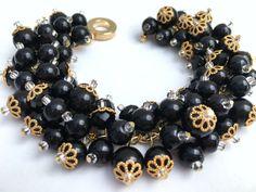 Black Pearl Bracelet Bridesmaid Jewelry Black Cluster