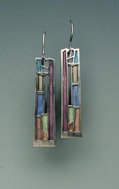 "Mission Window Earrings by Carly Wright. Sterling with enamel. 2"" high x .25"" wide. $140"