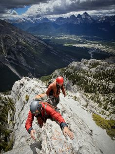 Any takers to do this with me ! Climbers on ESE Ridge of Mount Lady Macdonald above the town of Canmore and the Bow Valley - Banff National Park, Alberta, Canada, Ice Climbing, Mountain Climbing, Big Mountain, Mountain Biking, Trekking, Escalade, Kayak, Banff National Park, Mountaineering