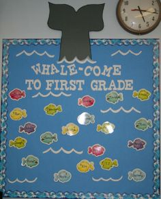 Next school year bulletin board. Wright's Photo Album - Back to school bulletin board (whale-come)! Perfect for my under the sea classroom! Classroom Door, Kindergarten Classroom, Classroom Themes, Classroom Organization, Future Classroom, Ocean Themed Classroom, Classroom Quotes, Back To School Bulletin Boards, Preschool Bulletin Boards