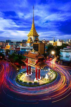 The Gateway Arch (Odeon Circle) and Golden Buddha Temple, Landmark of Chinatown, Bangkok, Thailand Bangkok Shopping, Bangkok Travel, Thailand Travel, Asia Travel, Laos, Best Hotel Deals, Best Hotels, Thailand Destinations, Thailand Adventure
