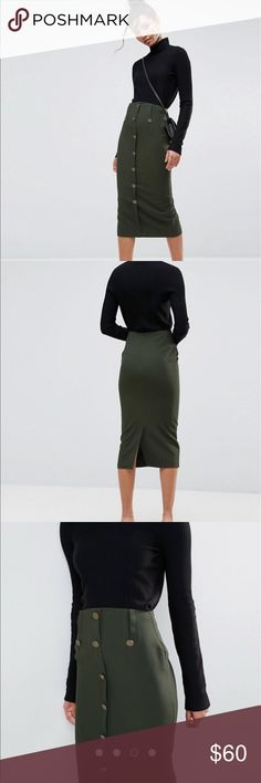 Asos • green button down skirt Nwt • size 6 • this is a pencil skirt and I didn't realize and ordered the wrong size and they are sold out  this skirt is STUNNING!   P.S if this doesn't sell on here I can still return it so act fast! ASOS Skirts Midi