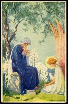 Illustrations de Margaret W- Tarrant Blessed Mother Mary, Blessed Virgin Mary, Religious Images, Religious Art, Hail Holy Queen, Queen Of Heaven, Mama Mary, Sainte Marie, Mary And Jesus