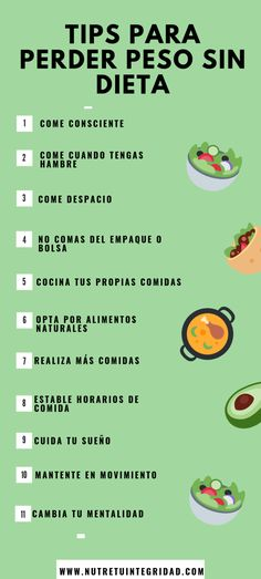 Tips para perder peso sin dieta Diyet Yemekleri Healthy Foods To Eat, Healthy Habits, Healthy Tips, Healthy Recipes, Drop Weight Fast, Lose Weight, Diet And Nutrition, Chocolate Slim, Ketogenic Diet