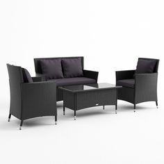 Buy Luxo Coogee 4 Piece PE Wicker Outdoor Furniture Set - Black Online Australia