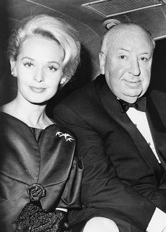 "Tippi Hedren and Alfred Hitchcock  ""The Birds"" (Tippi is the mother of Melanie Griffith)"