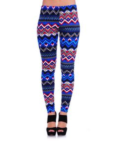 Another great find on #zulily! Royal Blue & Taupe Zigzag Leggings #zulilyfinds
