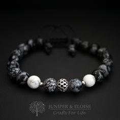Mens Bracelet , Womens Bracelet, Gemstone Bracelet, Bracelet Gift ,  8mm Obsidian, White Howlite Beads , Adjustable Beaded Bracelet,  Trendy by JUNIPERANDELOISE on Etsy