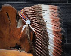 Medium Indian three colors brown  , Feather Headdress ( 36inch long). Native American Style. by theworldoffeathers. Explore more products on http://theworldoffeathers.etsy.com
