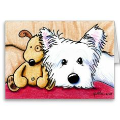 Cute ! <3 Ditto & Pudge Westie Dog Note Card