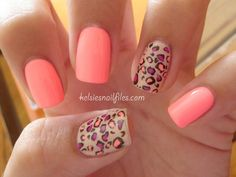 Peach Mani with Leopard Print Accent Nails