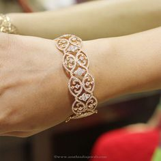 Broad Diamond Bangle Designs, Big Diamond Bangle Designs, Gold Diamond Bangle Designs.