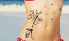Flying Girl Dandelion Tattoo on Stomach