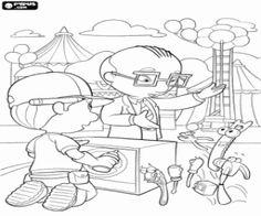 desenho de Manny trabalhando em um reparo no parque de diversões para Mr. Lopart