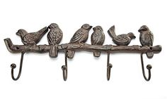 Gift Craft Cast Iron 4-Wall Hook with Birds