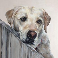 Dog Art | Portrait painting of Zoey (Yellow Labrador Retriever) by artist Carolyn Nikolai