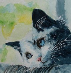 Hold Me Closer Tiny Dancer -  A weeeeee Grey Cat Daydreaming watercolor by Paul Lovering♥♥