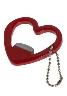 Nothing says love like a heart shaped beer bottle opener keychain! C'est l'amour!