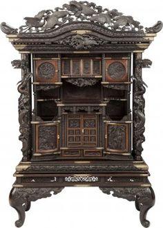 A Japanese Meiji Period Hardwood Cabinet, Circa