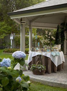 Gazebo, Brown White  Turquoise Blue. Outdoor Living. Gardens. Gardening.