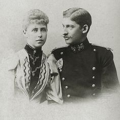 Prince Ferdinand of Romania - with his fiancee, Princess Marie of Edinburgh - later the King and Queen of Romania. (Photo by Hulton Archive/Getty Images) Romanian Royal Family, Maria Theresa, Francis I, Grand Duke, Queen Mary, Ferdinand, My Princess, Engagement Photos, Short Hair Styles