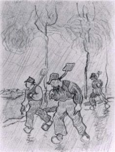 Three Peasants with Spades on a Road in the Rain - Vincent van Gogh