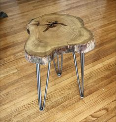 1a79d5e48f591 Custom Made Natural Live Edge Round Slab Side Table   Coffee Table With Steel  Legs