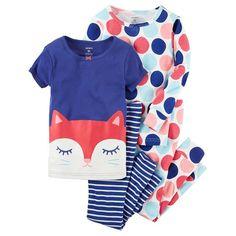 Baby Girl Carter's Graphic & Print Pajama Set, Size: