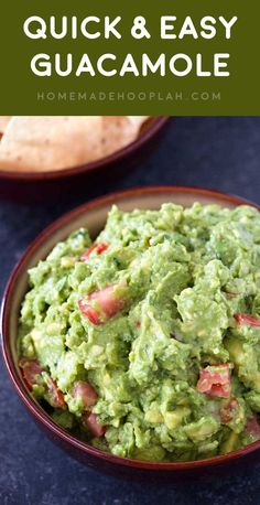 Quick & Easy Guacamole! Classic guacamole that's ready in 10 minutes and has an extra hint of garlic for a bold flavor. Plus, make it as mild or as spicy as you like! | HomemadeHooplah.com