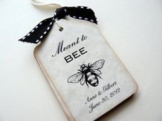 Meant to Bee - wedding favor tag - yellow gray wedding